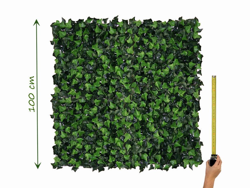 1m2 opgemeten gekoppelde kunst klimop Hedera Helix Kunsthaag 50x50cm mat tegel-paneel brandvertragend klasse C Kunsthaagvoordeel