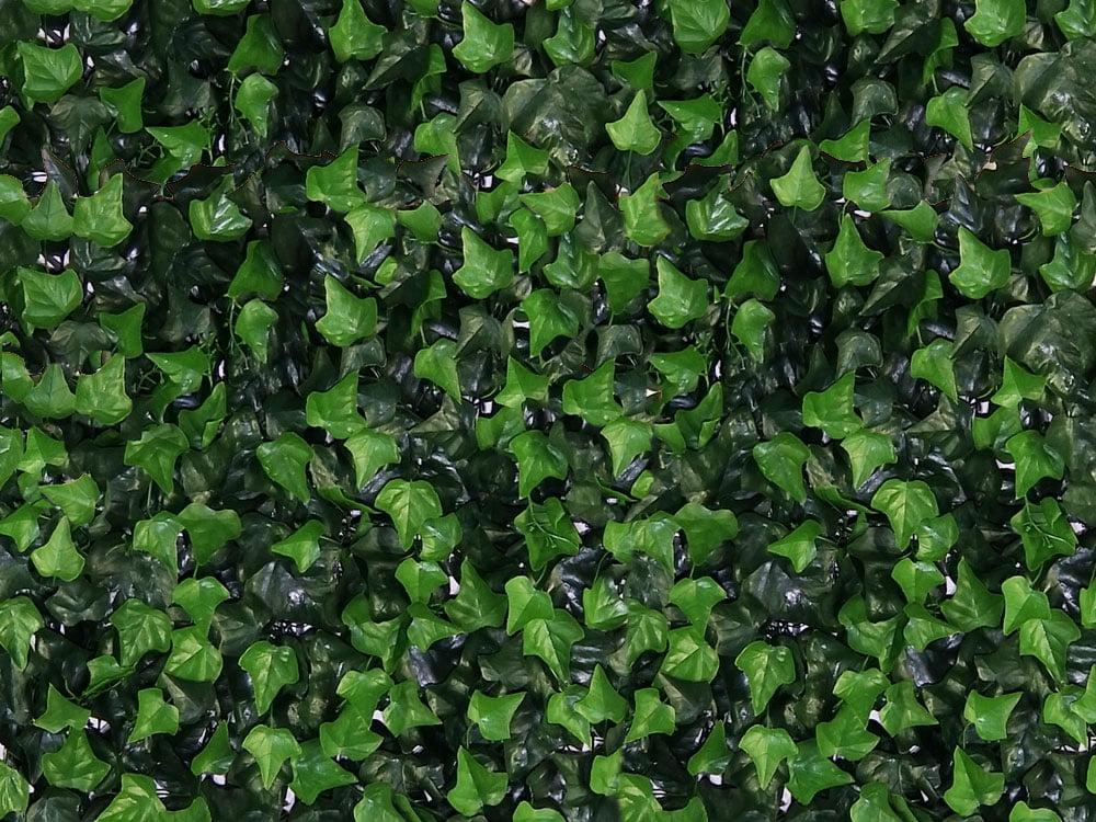 Detail dichtbij Kunst Hedera Helix Kunsthaag 50x50cm mat tegel paneel brandvertragend brandklasse B Kunsthaagvoordeel
