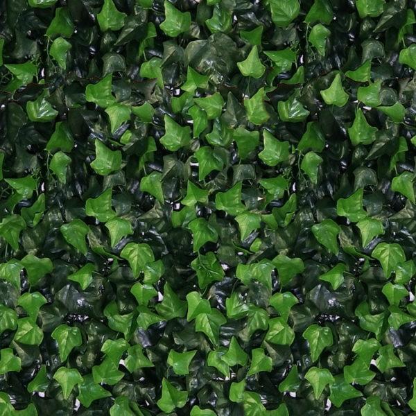Detail dichtbij Kunst Hedera Helix Kunsthaag 50x50cm mat tegel paneel brandvertragend brandklasse C Kunsthaagvoordeel