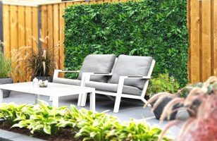 Kunsthaagvoordeel jungle kunstplant in tuin buiten