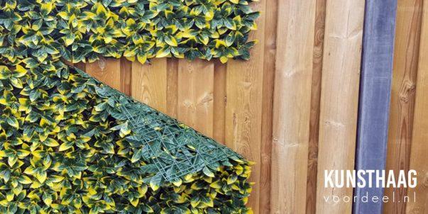 Voorbeeld van stormschade van een kunsthaag door een tekort aantal bevestigingspunten. De verbindingen van de haag zijn daardoor los gewaaid.
