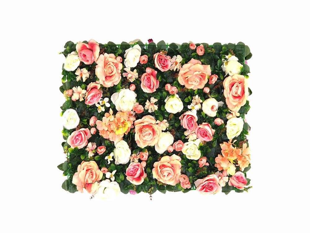 Vegetatie rozen en hortensia roze en wit planten bloemenwand