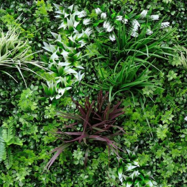 Leliegras bloem wit Plantenwand 100x100cm mat